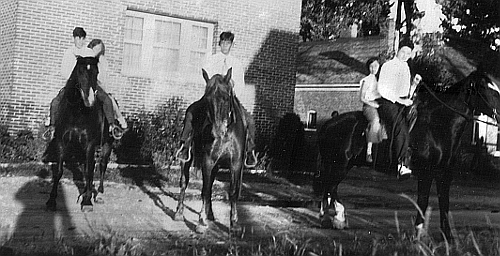 At the Stambaugh's home in Deer Lodge, Montana; l-to-r: James and  Elizabeth, Sidney, and Harold and Betty Jeanne, circa 1932